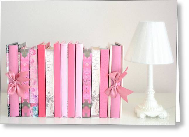 Cottages Photographs Greeting Cards - Dreamy Romantic Books Collection - Shabby Chic Cottage Chic Pastel Pink Books Photograph Greeting Card by Kathy Fornal