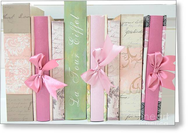 Cottages Photographs Greeting Cards - Shabby Chic Pink Pastel Books Collection - Shabby Chic Romantic Pastel Paris Pink Books Photography  Greeting Card by Kathy Fornal