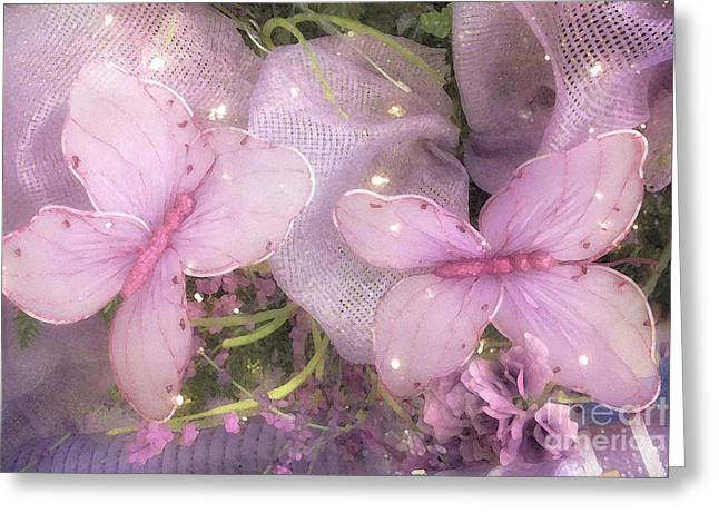 Lilac Greeting Cards - Dreamy Romantic Cottage Chic Shabby Chic Butterflies Purple Lilac  Greeting Card by Kathy Fornal