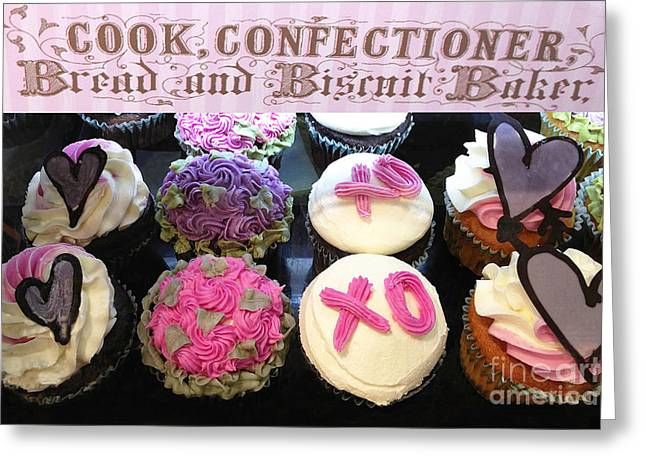 Cupcake Photography Greeting Cards - Dreamy Romantic Cupcake Food Photography - Cupcake Desserts Valentines Day Greeting Card by Kathy Fornal