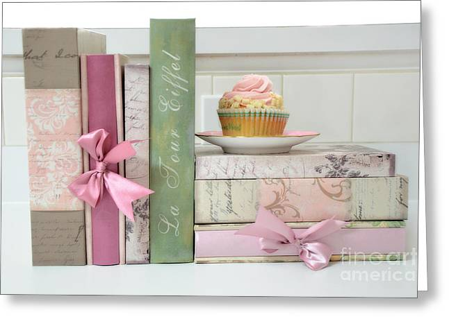 Book Photographs Greeting Cards - Dreamy Romantic Pastel Shabby Chic Cottage Chic Books With Pink Cupcake - Food Photography Greeting Card by Kathy Fornal