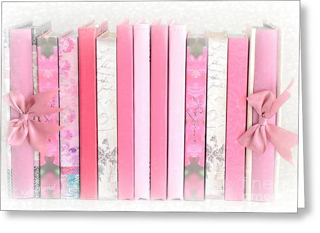 Cottages Photographs Greeting Cards - Dreamy Romantic Pink Books Collection - Shabby Chic Cottage Pastel Pink Books Wall Art Home Decor  Greeting Card by Kathy Fornal