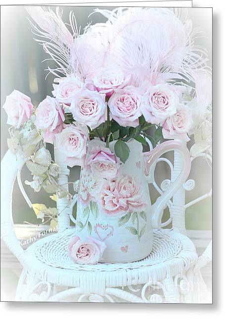 Floral Photos Greeting Cards - Dreamy Romantic Pink Bouquet of Baby Pink Roses On White Chair Cottage Garden Art Greeting Card by Kathy Fornal