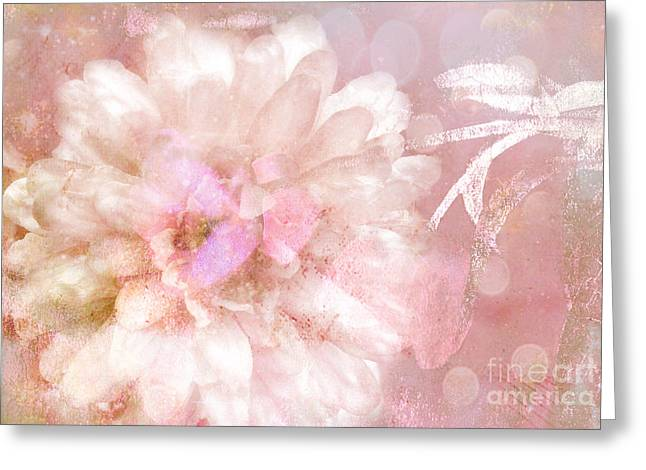 Flower Photos Greeting Cards - Dreamy Romantic Pink Rose Floral Abstract Greeting Card by Kathy Fornal