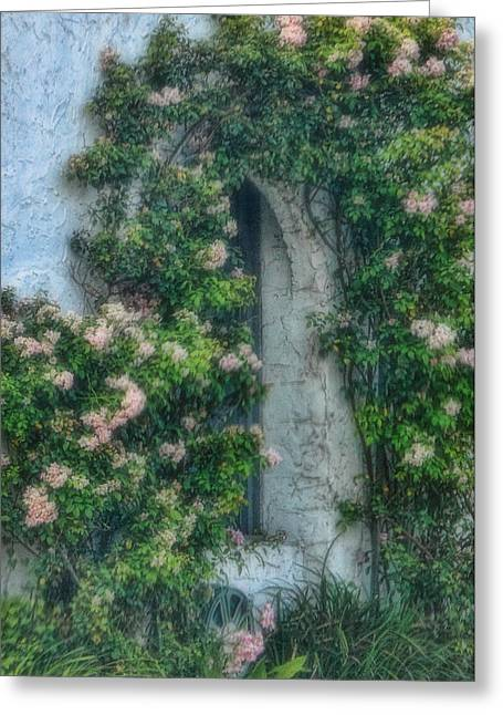 Dreamy Art Greeting Cards - Dreamy Rose Window Greeting Card by Linda Phelps