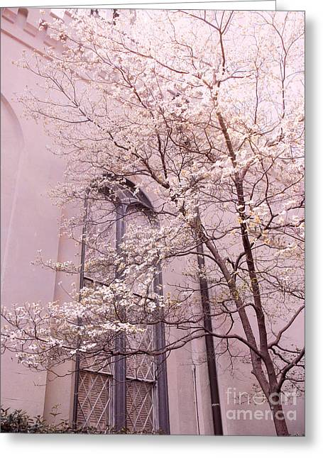 Beautiful Photographs Greeting Cards - Dreamy Savannah Church Window Pink Trees  Greeting Card by Kathy Fornal
