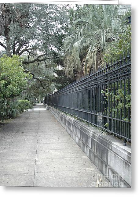 Savannah Nature Photography Greeting Cards - Dreamy Savannah Georgia Street Architecture Rod Iron Gates With Palm Trees  Greeting Card by Kathy Fornal