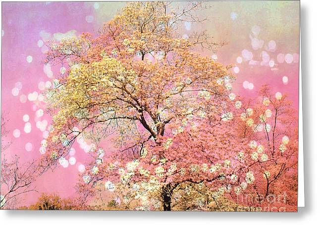 Pink Pastel Greeting Cards - Dreamy Shabby Chic Art Cottage Chic Pink and Yellow Fairytale Fantasy Trees Nature Bokeh Photography Greeting Card by Kathy Fornal
