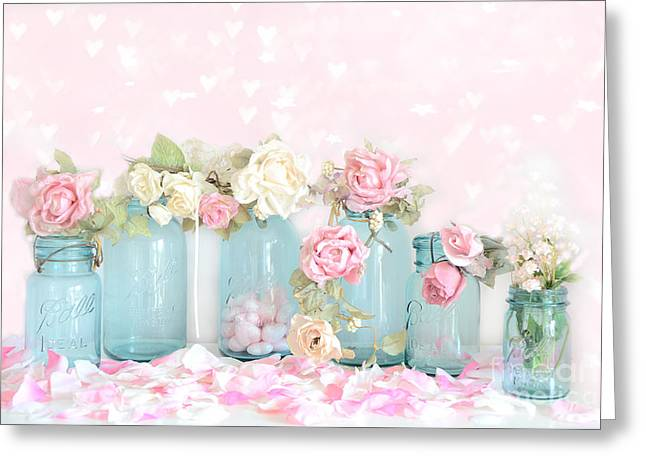 Ball Jars Greeting Cards - Dreamy Shabby Chic Pink White Roses  - Vintage Aqua Teal Ball Jars Romantic Floral Roses  Greeting Card by Kathy Fornal