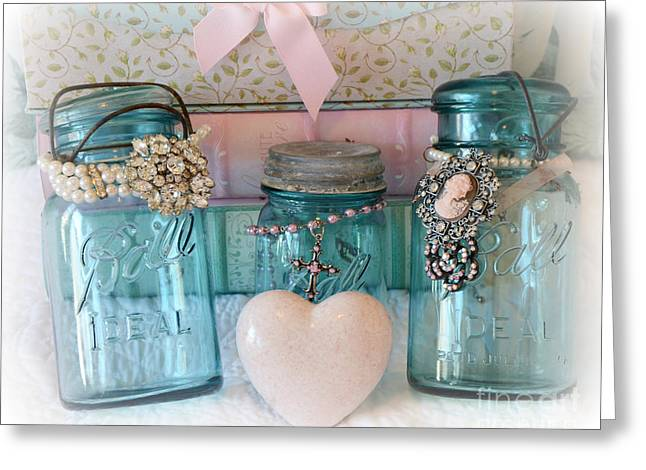 Floral Photos Greeting Cards - Dreamy Shabby Chic Ball Jars - Vintage Aqua Teal Blue Ball Jars - Ball Jars Pink Valentine Heart Art Greeting Card by Kathy Fornal