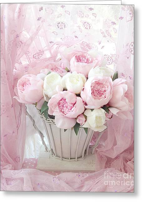 Pink Flower Prints Greeting Cards - Dreamy Shabby Chic Basket of Pink and White Peonies - Vintage Pink White Peony Basket Floral Art Greeting Card by Kathy Fornal