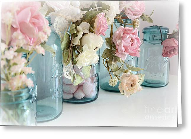 Floral Photos Greeting Cards - Dreamy Shabby Chic Blue Aqua Ball Jars - Vintage Blue Ball Jars With Flowers - Cottage Kitchen Art Greeting Card by Kathy Fornal