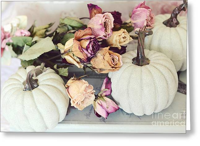 Photos Of Autumn Greeting Cards - Dreamy Shabby Chic Cottage Autumn Fall Pastel Pumpkins and Dried Roses Greeting Card by Kathy Fornal