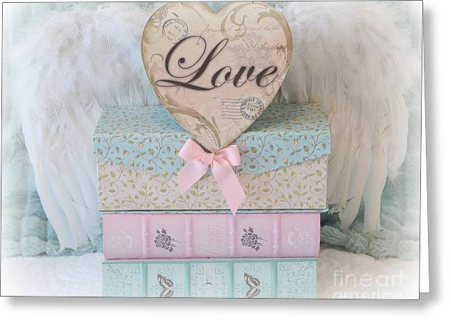 With Love Greeting Cards - Dreamy Shabby Chic Cottage Pastel Pink Aqua Romantic Valentine Love Heart - Romantic Photography Greeting Card by Kathy Fornal