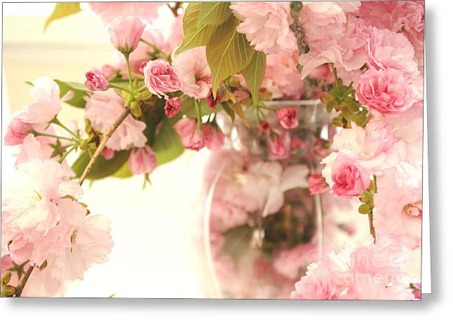Flower Photos Greeting Cards - Dreamy Shabby Chic Cottage Pink Cherry Blossoms Flowers In Vase Greeting Card by Kathy Fornal