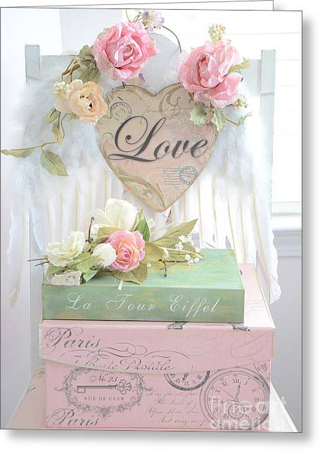 With Love Photographs Greeting Cards - Dreamy Shabby Chic Cottage Pink Roses With Romantic Paris Books With Love and Angel Wings Greeting Card by Kathy Fornal