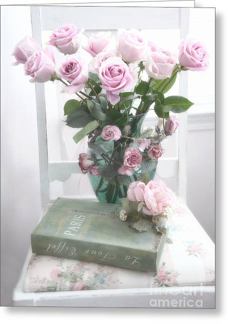 Cottages Photographs Greeting Cards - Dreamy Shabby Chic Cottage Pink Teal Romantic Floral Bouquet Roses Paris Book On Chair Greeting Card by Kathy Fornal