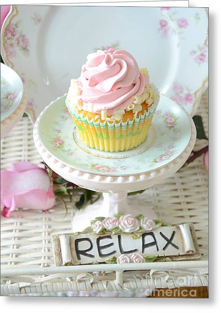 Cupcake Photography Greeting Cards - Dreamy Shabby Chic Cupcake Romantic Food Vintage Cottage Food Photography - Just Relax Greeting Card by Kathy Fornal