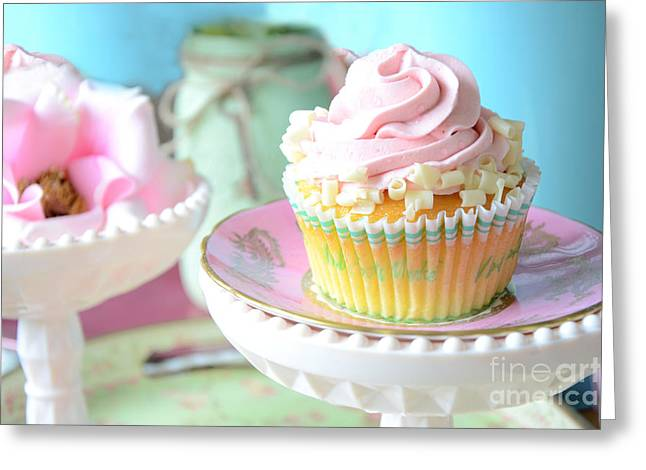 Cupcake Photography Greeting Cards - Dreamy Shabby Chic Cupcake Vintage Romantic Food and Floral Photography - Pink Teal Aqua Blue  Greeting Card by Kathy Fornal