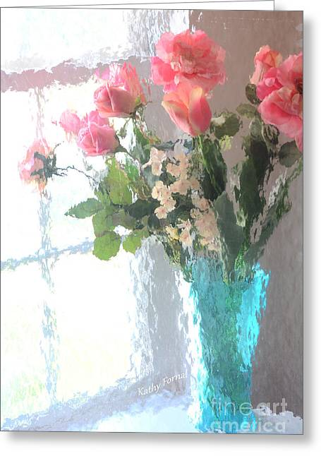 Photos Of Coral Greeting Cards - Dreamy Shabby Chic Impressionistic Coral Peach Pink Bouquet - Peach Coral Flowers In Aqua Vase Greeting Card by Kathy Fornal