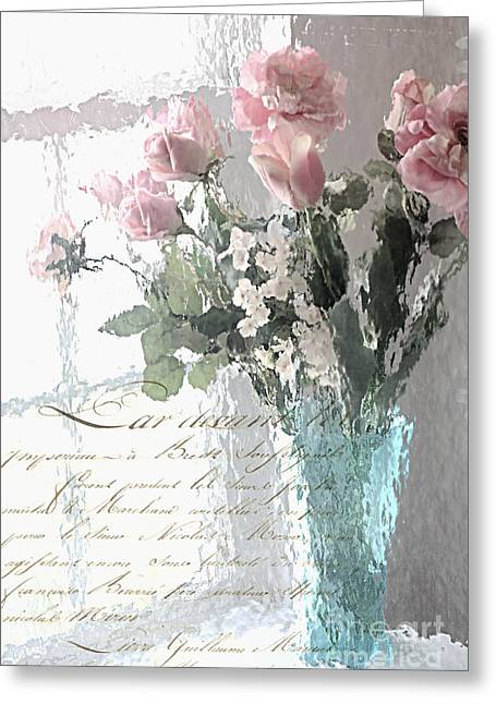 Floral Photos Greeting Cards - Dreamy Shabby Chic Pastel Flowers - Romantic Impressionistic Paris Roses and Tulips Greeting Card by Kathy Fornal