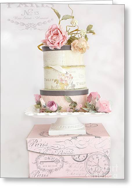 Romantic Roses Photography Greeting Cards - Dreamy Shabby Chic Paris Pink Boxes of Roses - Romantic Cottage Chic Paris Fleur Greeting Card by Kathy Fornal