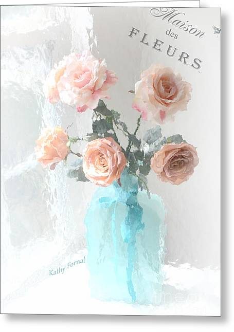 Floral Photos Greeting Cards - Dreamy Shabby Chic Paris Roses  - Paris French Floral Roses Teal Vase - Paris Roses French Script Greeting Card by Kathy Fornal