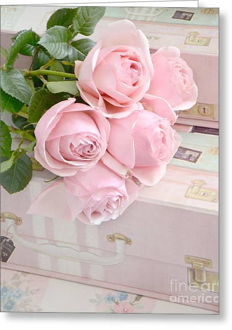 Cottages Photographs Greeting Cards - Dreamy Shabby Chic Pastel Pink Roses On Pink Suitcases - Cottage Chic Romantic Valentine Pink Roses Greeting Card by Kathy Fornal