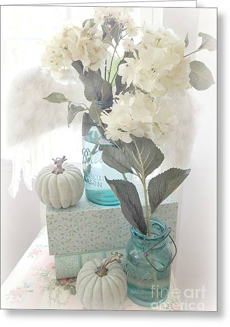 Mason Jar Greeting Cards - Dreamy Shabby Chic Pastel White Hydrangeas In Aqua Mason Jars - Autumn Fall Cottage Floral Decor Greeting Card by Kathy Fornal