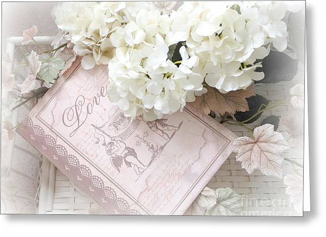 Flower Photos Greeting Cards - Dreamy Shabby Chic Pastel White Hydrangeas On Pink Love Book - Romantic Hydrangeas Floral Art Greeting Card by Kathy Fornal