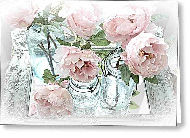 Decor Photography Greeting Cards - Dreamy Shabby Chic Peonies and Vintage Mason Ball Jars Romantic Cottage Floral Art Greeting Card by Kathy Fornal