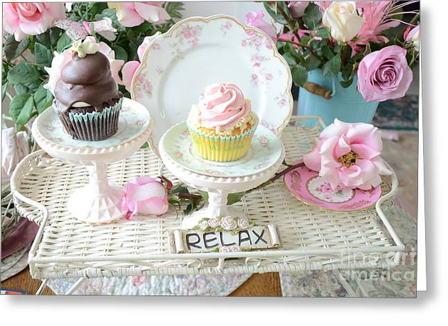 Cupcake Photography Greeting Cards - Dreamy Shabby Chic Pink and Chocolate Cupcakes Vintage Romantic Food and Floral Photography Greeting Card by Kathy Fornal