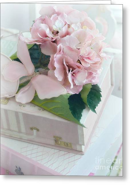 Baby Pink Greeting Cards - Dreamy Shabby Chic Pink Hydrangea - Romantic Cottage Chic Vintage Pastel Hydrangea Floral Art Greeting Card by Kathy Fornal