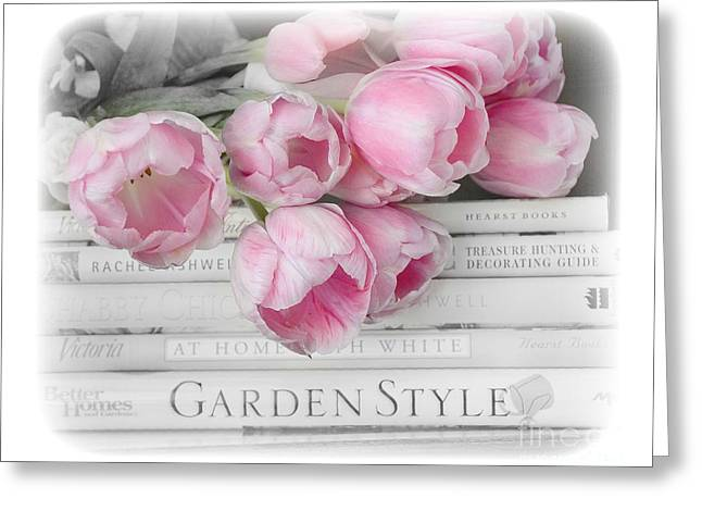 Pink Flower Prints Greeting Cards - Dreamy Shabby Chic Pink Pastel Tulips - Pink Tulips Cottage Garden Books Decor Greeting Card by Kathy Fornal