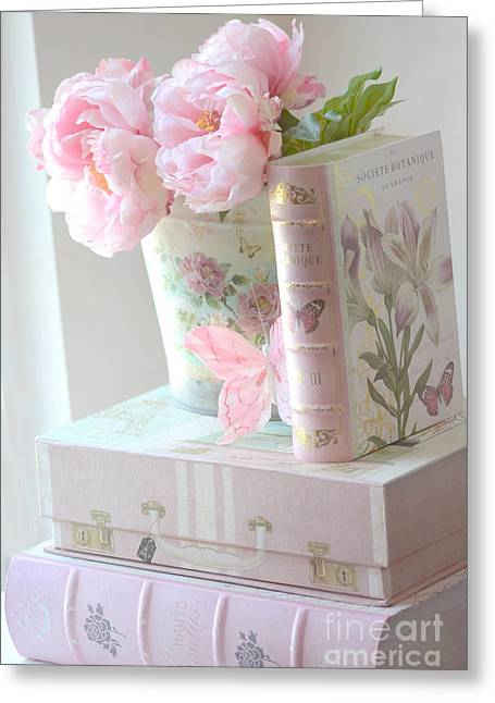 Dreamy Pink Floral Art Greeting Cards - Dreamy Shabby Chic Pink Peonies and Books - Romantic Cottage Peonies Floral Art With Pink Books Greeting Card by Kathy Fornal