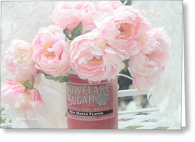 Pink Flower Prints Greeting Cards - Dreamy Shabby Chic Pink Peonies In Vintage Sugar Bucket Greeting Card by Kathy Fornal