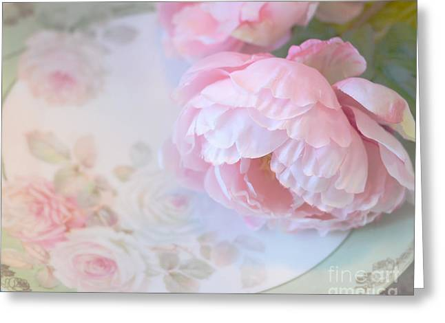 Pink Flower Prints Greeting Cards - Dreamy Shabby Chic Pink Peonies - Romantic Cottage Chic Vintage Pastel Peonies Floral Art Greeting Card by Kathy Fornal