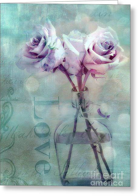 Belles Photographs Greeting Cards - Dreamy Shabby Chic Pink Roses Teal Aqua Impressionistic Cottage Pink and Teal Love Print Greeting Card by Kathy Fornal