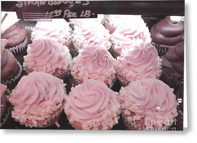 Pink Food Photography Greeting Cards - Dreamy Shabby Chic Pink Strawberry Cupcakes - Cottage Pink Cupcakes Food Photography  Greeting Card by Kathy Fornal