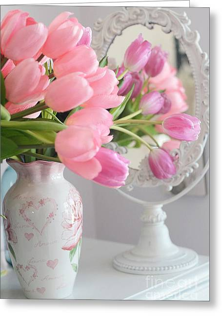 Pink Flower Prints Greeting Cards - Dreamy Shabby Chic Pink Tulips In Mirror - Romantic Cottage Chic Pink Tulips Greeting Card by Kathy Fornal