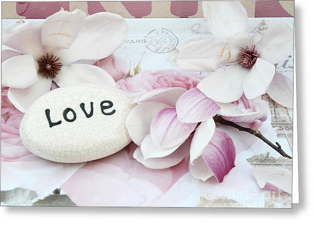 Flower Photos Greeting Cards - Dreamy Shabby Chic Pink White Magnolia Blossoms - Romantic Pink Magnolias With Love Greeting Card by Kathy Fornal