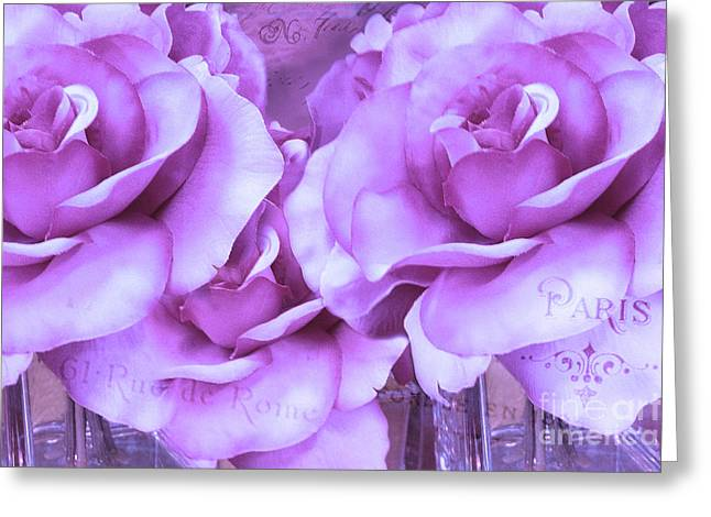 Floral Photos Greeting Cards - Dreamy Shabby Chic Purple Lavender Paris Roses - Dreamy Lavender Roses Cottage Floral Art Greeting Card by Kathy Fornal