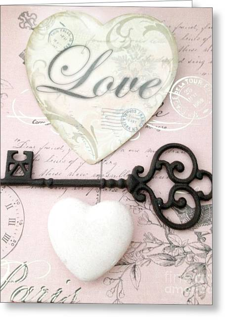 Belles Photographs Greeting Cards - Dreamy Shabby Chic Romantic Valentine Heart Love Skeleton Key and Hearts Greeting Card by Kathy Fornal