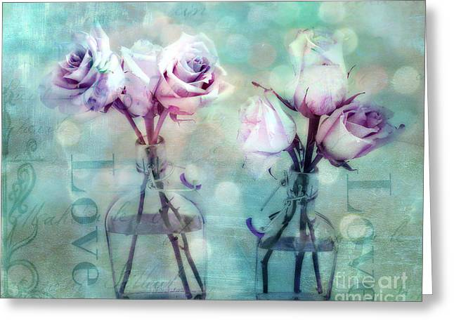 Belles Photographs Greeting Cards - Dreamy Shabby Chic Roses Impressionistic Pink Teal Aqua - Romantic Roses Love Floral Impressionistic Greeting Card by Kathy Fornal