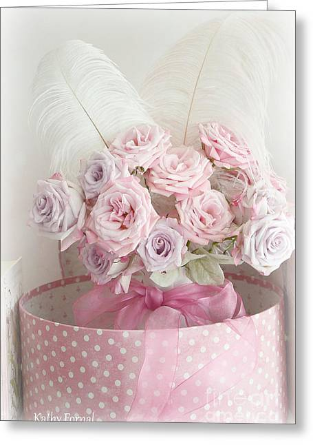 Pink Flower Prints Greeting Cards - Dreamy Shabby Chic Roses In Pink Polka Dot Hat Box - Romantic Roses Floral Bouquet Greeting Card by Kathy Fornal