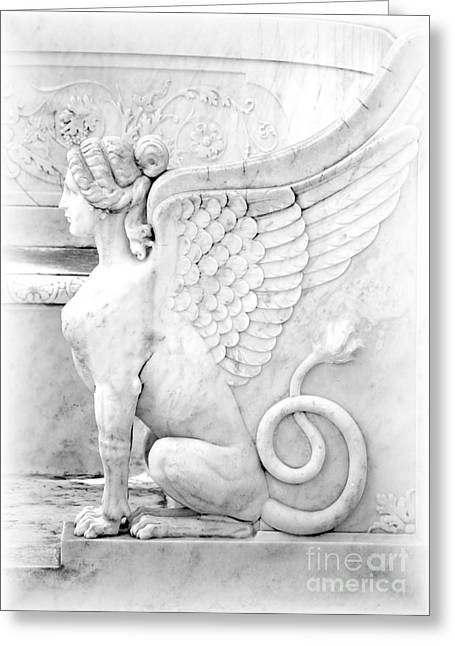 Black White Spiritual Angel Art Greeting Cards - Dreamy Sphinx Greeting Card by Sabrina L Ryan