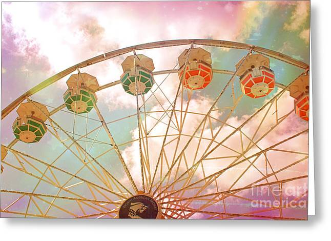 Festivals Fairs Carnival Photos Greeting Cards - Carnival Fair Festival Ferris Wheel - Dreamy Pink Ferris Wheel Carnival Festival Rides Greeting Card by Kathy Fornal