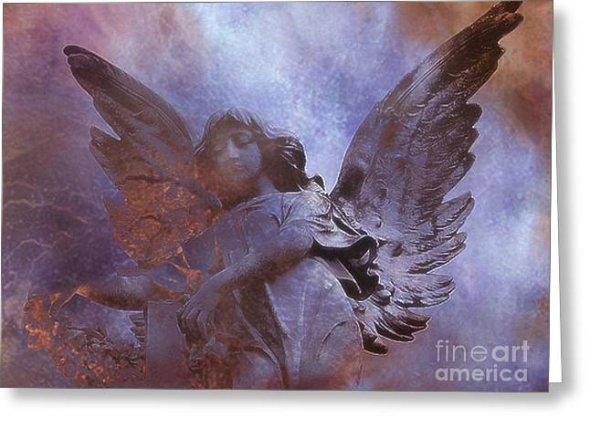 Ethereal Angel Art Greeting Cards - Dreamy Surreal Angel Art - Ethereal Angel Celestial Purple and Bronze Heavenly Angel Art Greeting Card by Kathy Fornal