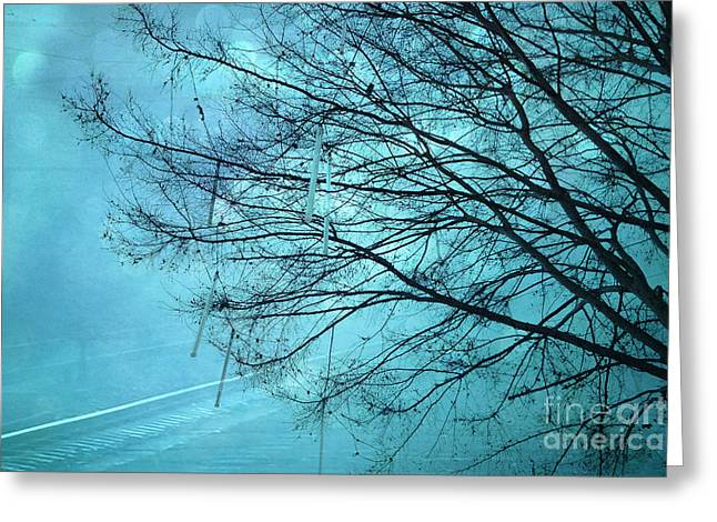 Photos Of Birds Greeting Cards - Dreamy Surreal Aqua Teal Turquoise Fantasy Tree Winter Landscape  Greeting Card by Kathy Fornal