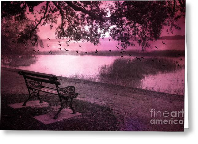 Woodland Scenes Greeting Cards - Dreamy Surreal Beaufort South Carolina Lake and Bench Scene Greeting Card by Kathy Fornal